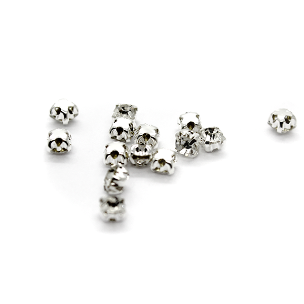 Chaton Montees, SS-12, Alloy. Silver, 3mm x 3mm x 3mm loop, Sold per pkg of 40