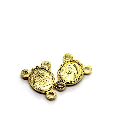 Charm, Mary Centerpiece, Gold, Alloy, 14mm X 11mm X 2mm, Sold Per pkg of 12