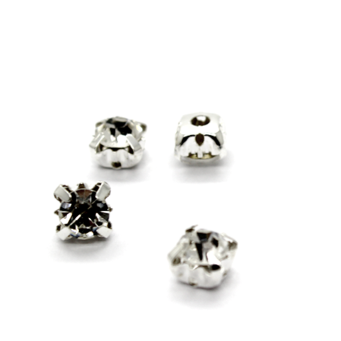 Chaton Montees, SS-30, Alloy. Silver, 6mm x 6mm x 5mm loop, Sold per pkg of 15