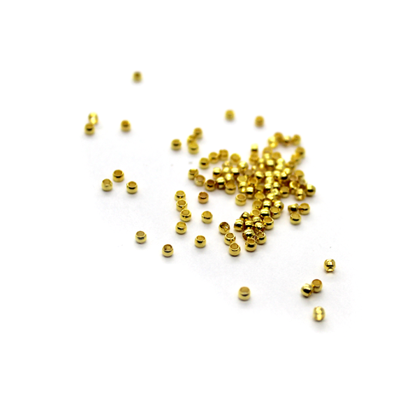 Crimps, Beads, Gold, Alloy, 2mm X 2mm X 2mm, Sold Per pkg of 200+