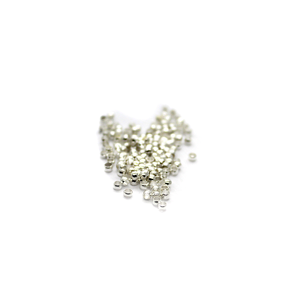 Crimps, Bead, Bright Silver Alloy, 2mm X 2mm, Sold Per pkg of 260+