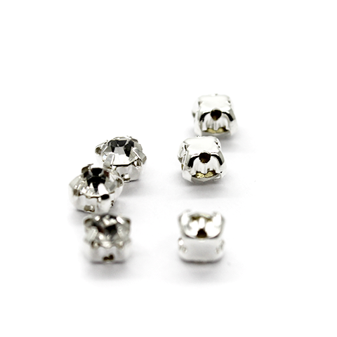 Chaton Montees, SS-18, Alloy. Silver, 4mm x 4mm x 4mm, Sold per pkg of 25