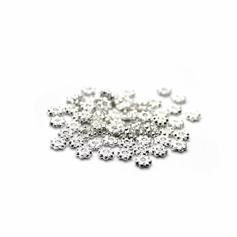 Spacers, Daisy Spacer, Alloy, Bright Silver, 4mm X 4mm, Sold Per pkg of 190+