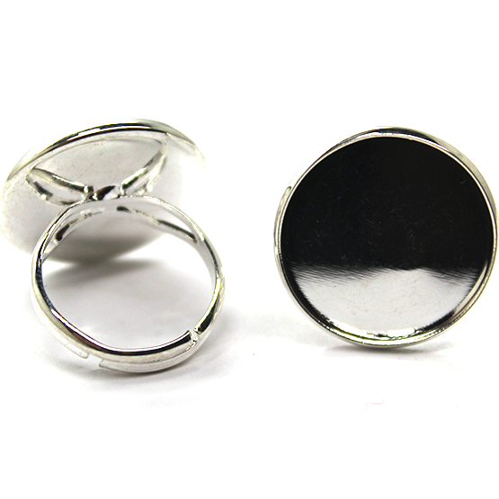 Base, Glue On Bezel Adjustable Ring, Bright Silver, Alloy, 23mm (Length) 22mm x 22mm (bezel), Sold Per pkg of 2