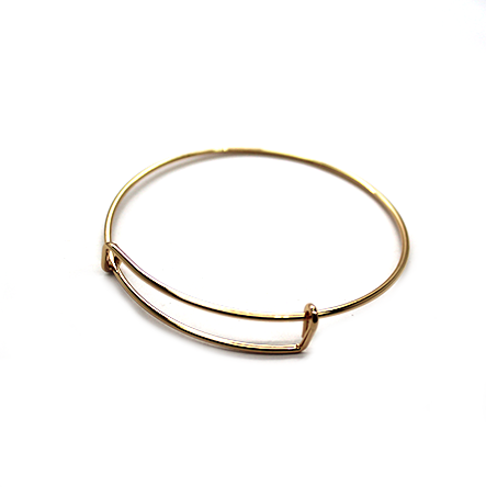 Adjustable Charm Bangle - Light Gold Alloy - 1pc