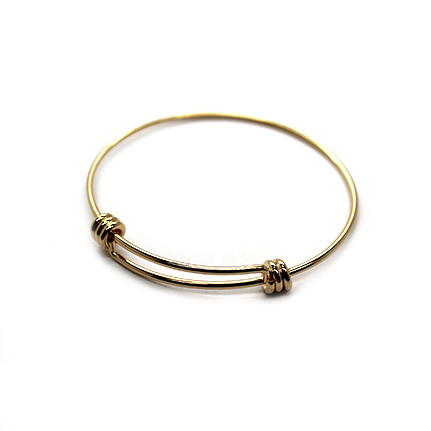 Adjustable Charm Bangle - Light Gold Alloy - 1pc - Butterfly Beads