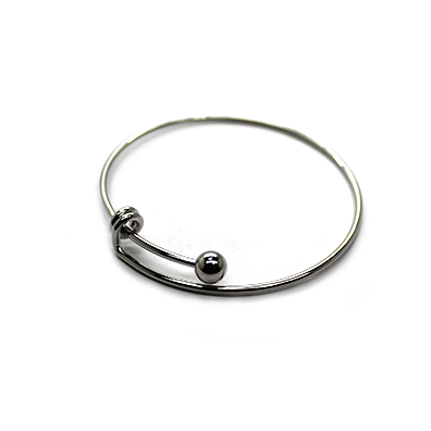 Adjustable Charm Bangle - Grey Alloy - 1pc - Butterfly Beads