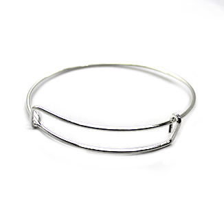 Adjustable Charm Bangle - Silver Alloy - 1pc