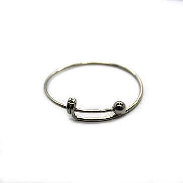 Adjustable Charm Bangle -Children's Size - Grey Alloy - 1pc