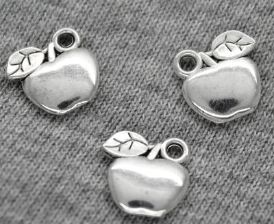 Charms, Leafy Apple, Silver, Zinc Alloy, 11mm X 10mm, Sold Per pkg of 6