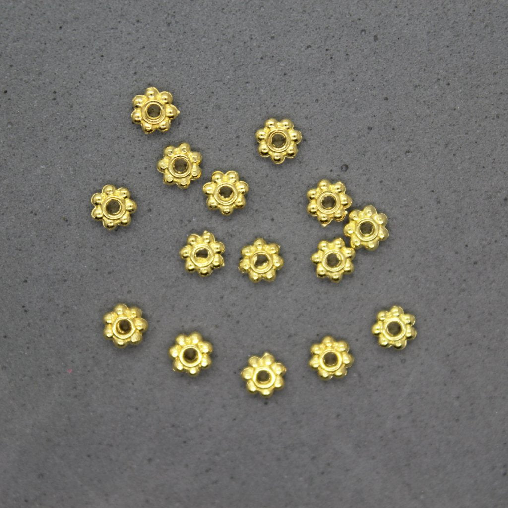 Spacers, Small Daisy Spacer, Alloy, Gold, 4mm X 4mm, Sold Per pkg of 70+