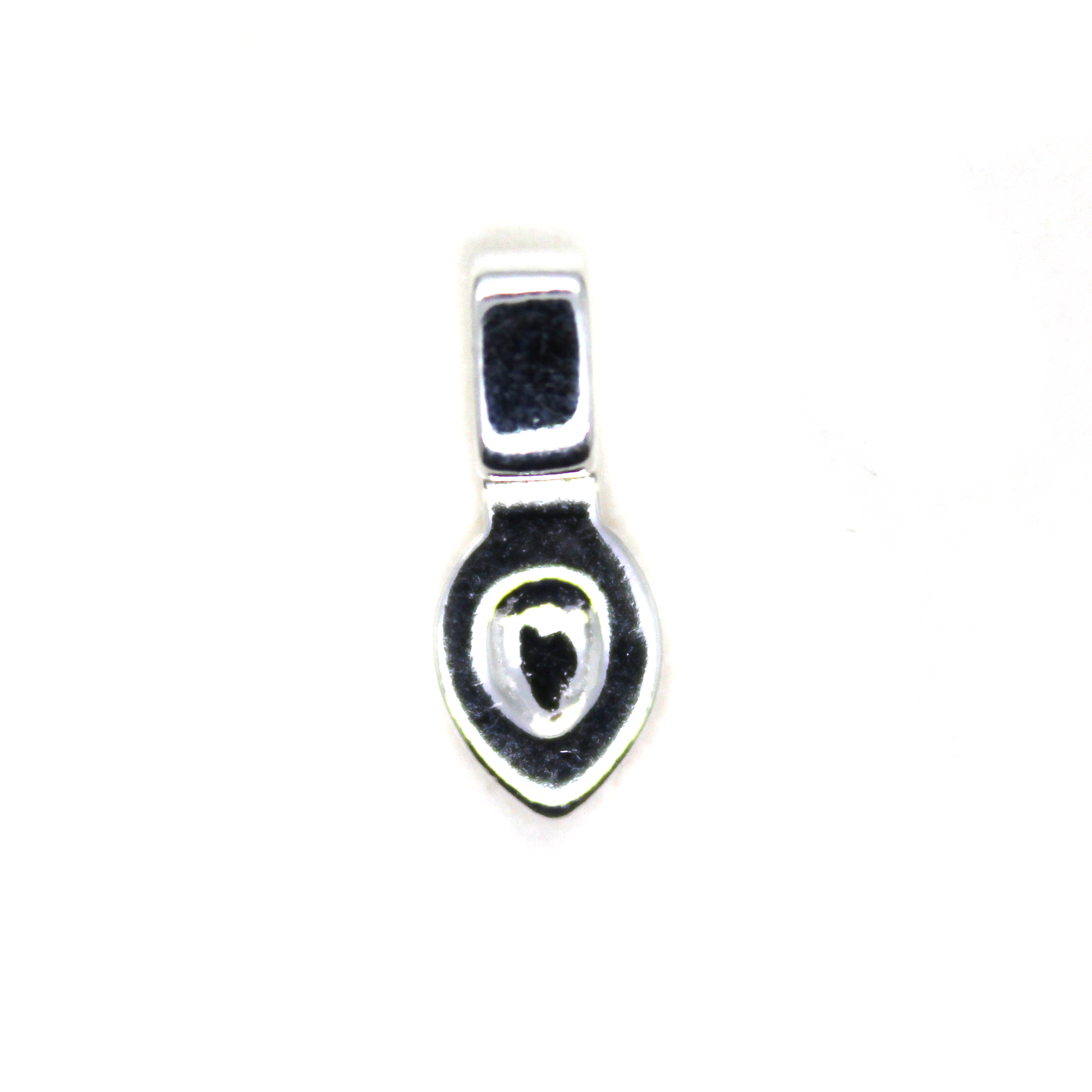 Bail, Smooth Glue-on Sterling Silver with a teardrop shape pad, 12mm X 5mm - 1pc