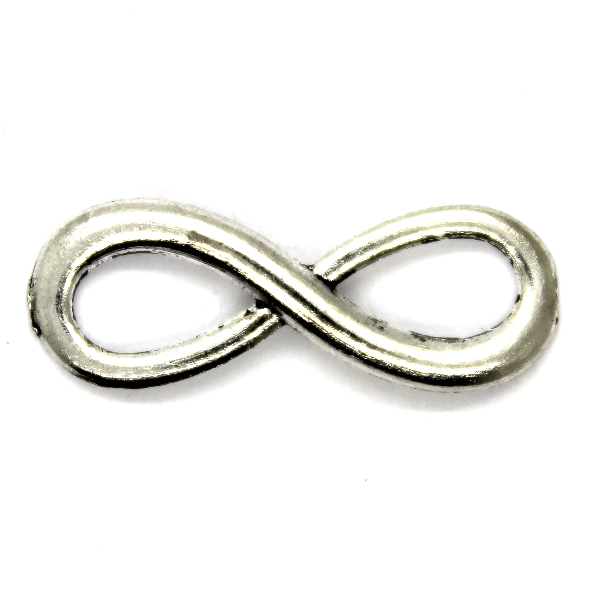 Connector, Curved Infinity, Silver, Alloy, 23mm x 8mm, Sold Per pkg of 6