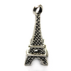 Charms, Mini Firm Eiffel Tower, Silver, Alloy, 21mm x 8mm X 8mm, Sold Per pkg of 4