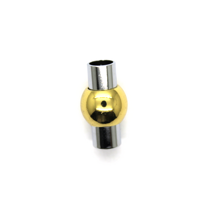 Clasp, Ball Barrel Magnetic Clasp, Alloy, Silver and Gold, 19mm x 10mm, Sold Per pkg of 1