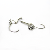 Earrings, Bright Silver, Alloy, Flower Cap Leverback Earrings, 20mm x 12.5mm, sold per pkg of 2 pairs