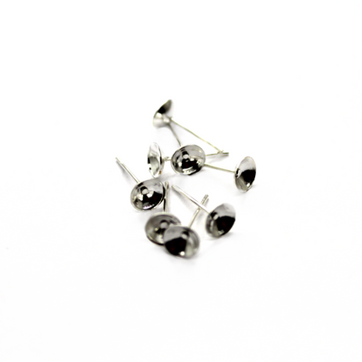 Earrings, Bright Silver, Alloy, Glue On Cup Stud, 13mm x 6mm, sold per pkg of 14 pairs