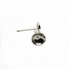 Earrings, Bright Silver, Alloy, Glue On Cup Stud, 15mm x 8mm, sold per pkg of 8 pairs