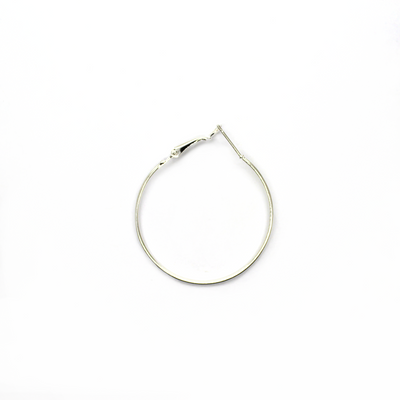 Earrings, Bright Silver, Alloy, Adjustable Hoop Earrings, 43mm x 43mm x 1mm, sold per pkg of 3 pairs