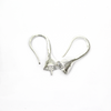 Earrings, Bright Silver, Alloy, Nickle Free Shepherd Hook with Cap, 22mm x 10mm, sold per pkg of 1 pair
