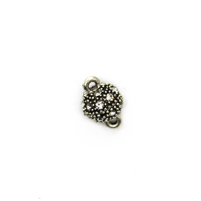 Clasp, Crystal Magnetic Sphere Clasps, Antique Silver, Alloy, 14mm x 9mm,  Sold Per pkg of 1
