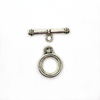 Clasp, Toggle Clasp Set, Silver, 19mm D (loop) x 24.5mm L (bar) , pkg of 3 set
