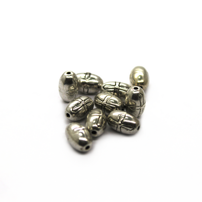 Spacers, Oval Cross Patterned, Alloy, Silver, 9mm X 6mm X 1mm (hole), Sold Per pkg of 10