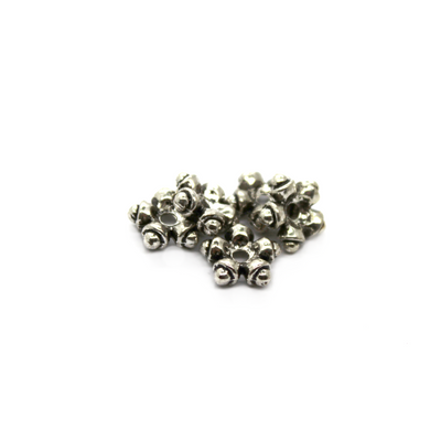 Spacers, Flower Disk, Alloy, Silver, 9mm X 9mm X2mm, Sold Per pkg of 10