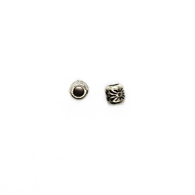 Spacers, Small Barrel Sun Pattern, Alloy, Silver, 4mm X 4mm X 2mm(hole), Sold Per pkg of 20