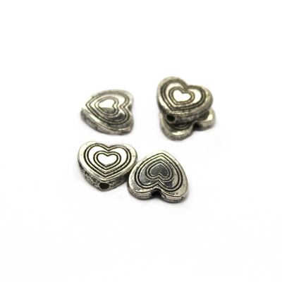 Spacer, Layer of Hearts, Silver, Alloy, 11mm X 11mm, Sold Per pkg of 8