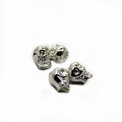 Spacers, Skull, Alloy, Bright Silver, 9mm X 6.5mm, Sold Per pkg of 8