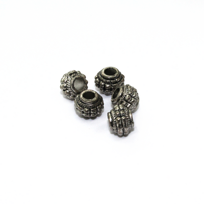 Spacers, Tibetan Patterned Barrel, Alloy, Antique Silver, 8mm X 6.5mm X 3mm(hole), Sold Per pkg of 12