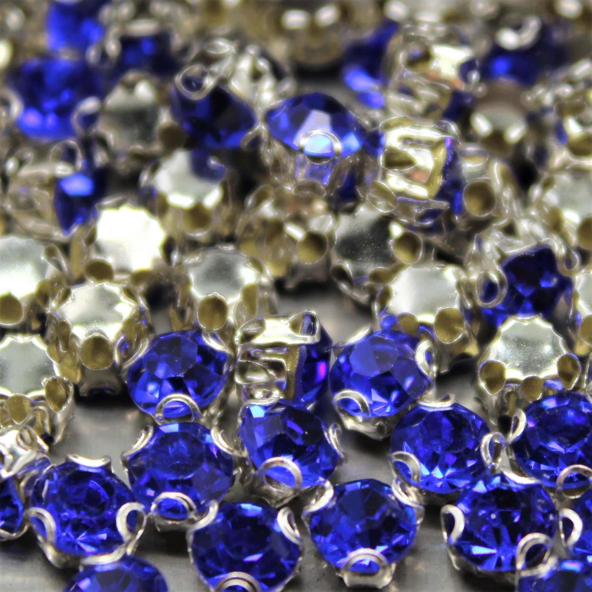 Chaton Montees, SS-14, Alloy, Royal Blue, 4mm x 4mm, Sold per pkg of 60