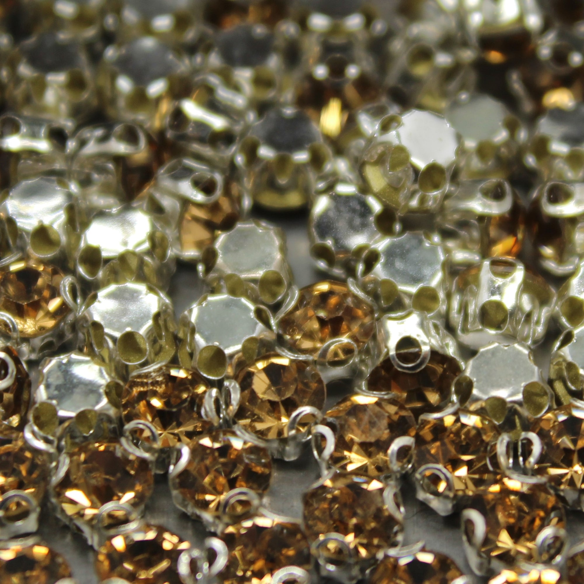 Chaton Montees, SS-14, Alloy, Champagne, 4mm x 4mm, Sold per pkg of 60