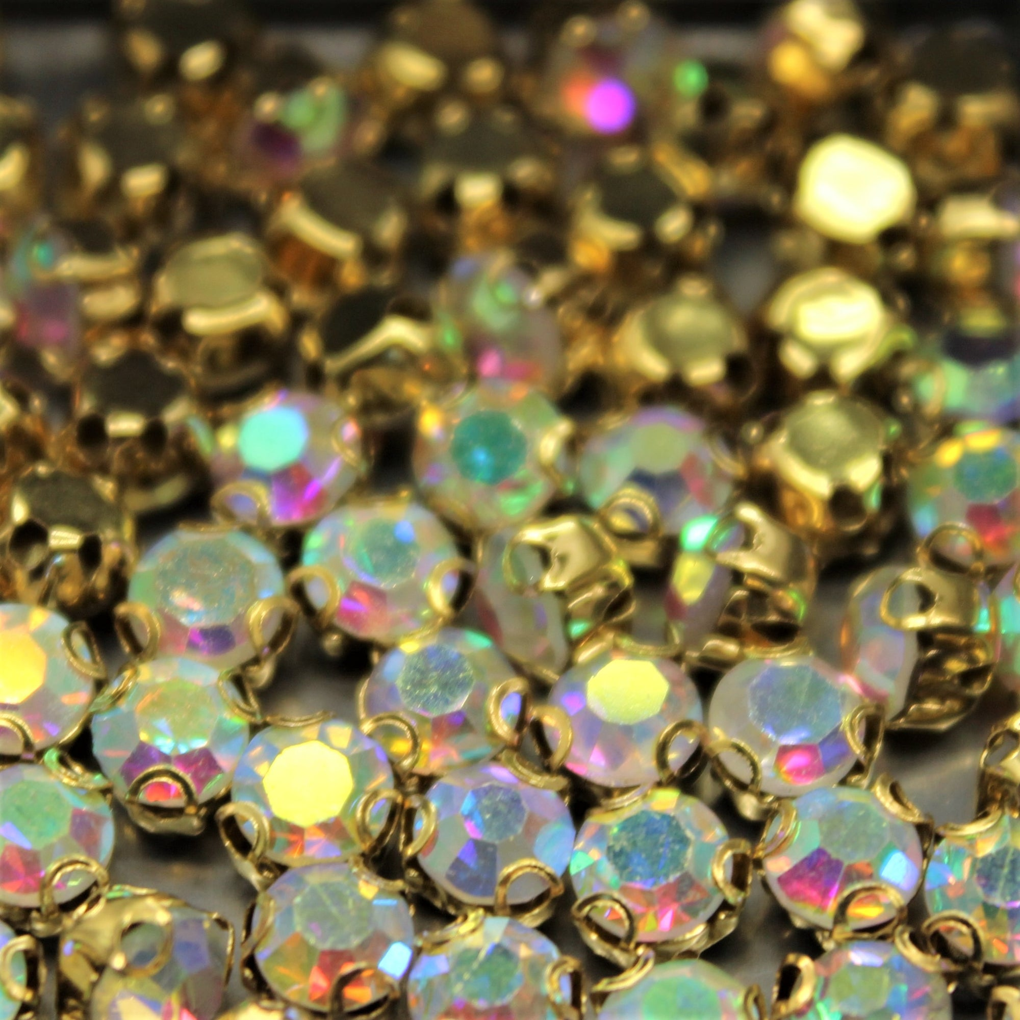 Chaton Montees, SS-14, Alloy, Gold Aurora Borealis (AB), 4mm x 4mm, Sold per pkg of 60