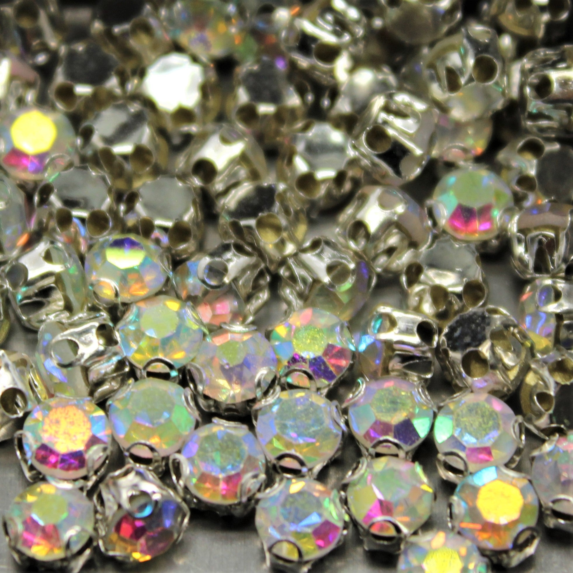 Chaton Montees, SS-14, Alloy, Aurora Borealis (AB), 4mm x 4mm, Sold per pkg of 60