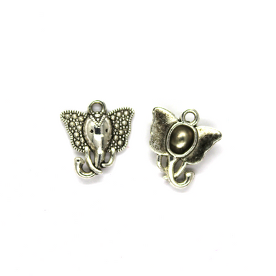 Charms, Elephant Head, Silver, Alloy, 16mm X 15mm, Sold Per pkg of 8