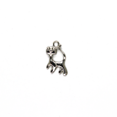 Charms, Skinny Cat, Silver, Alloy, 19mm X 12mm, Sold Per pkg of 6