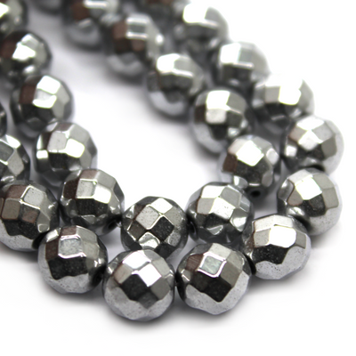 Hematite Silver Faceted, Semi-Precious Stone, 8mm, 48 pcs per strand