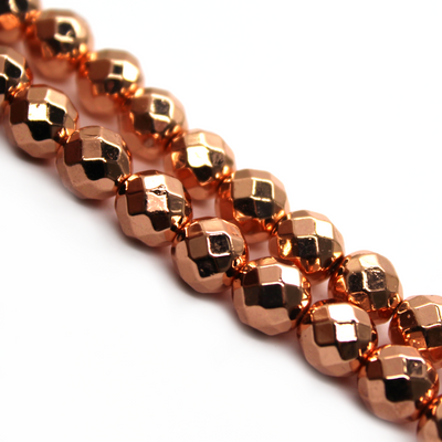 Hematite Rose Gold Faceted, Semi-Precious Stone, 6mm, 65 pcs per strand