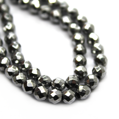 Hematite Silver Faceted, Semi-Precious Stone, 3mm, 130 pcs per strand