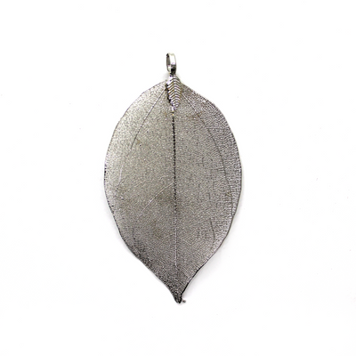 Pendants, Light Leaf, Silver, Alloy, 65mm x 45mm X 0.5mm, Sold Per pkg of 1