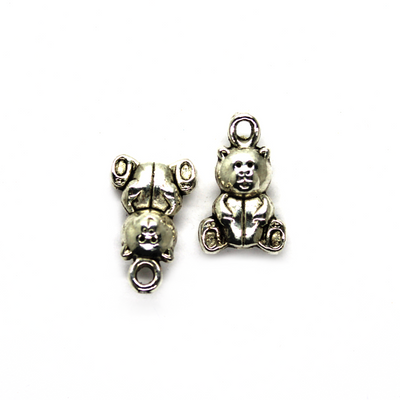 Charms, Teddy Bear, Silver, Alloy, 16mm X 10mm,, Sold Per pkg of 6