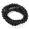 Matte Glass Beads, Black, 6mm, 130 pcs/strand