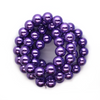 Glass Pearls, Purple Iris, 14mm  - 1mm (hole), 60 pcs per strand