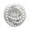 Glass Beads, White Opaque, 8mm  - 1mm (hole), 100 pcs per strand