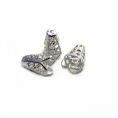 Bead Cone, Lace Bead Cone, Alloy, Silver, 16mm x 10mm, Sold Per pkg of 16