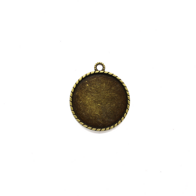Pendant, Circular Bezel, Brass, Alloy, 34mm x 34mm, Sold Per pkg of 2