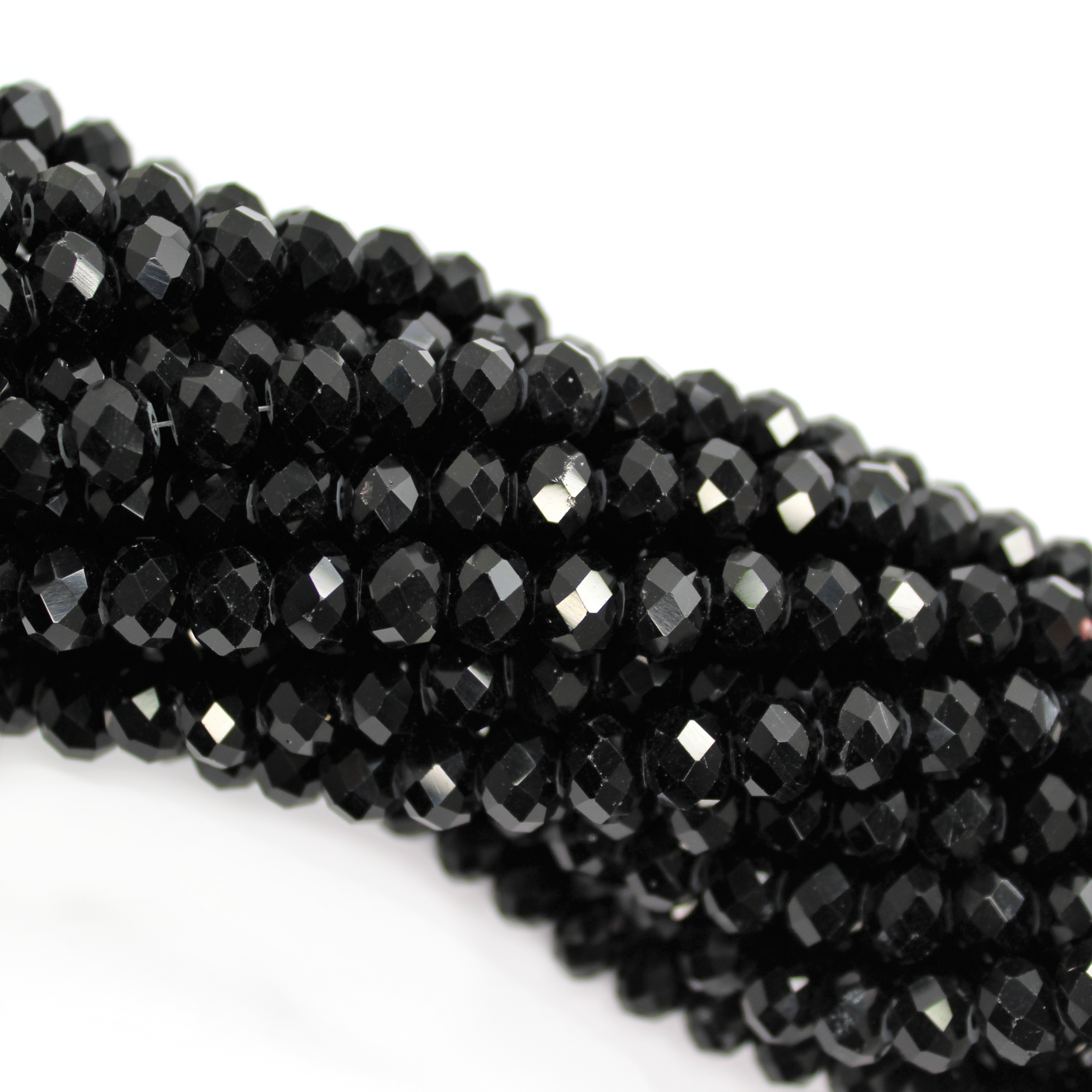 Chinese Glass Crystal, Rondelle, Black, 8mm X 6mm, 65 pcs per strand