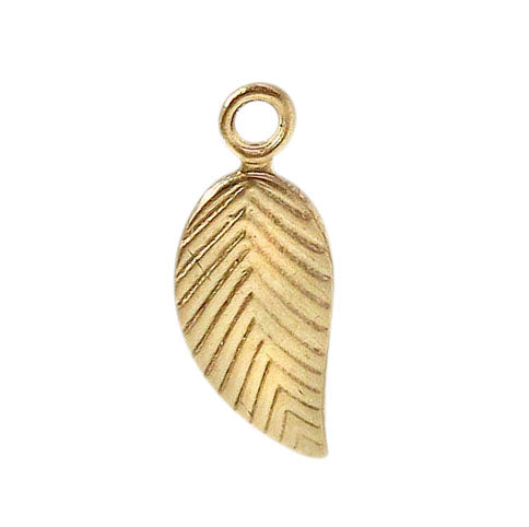 Charm, Flat Leaf, 14K Gold Filled, 10mmL x 5mmW , Sold Per pkg of 1